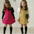 2013 New Long Layer sleeve cotton Dot dresses girls Fashion dress baby one piece fashion dress 5pcs free ship 630246J