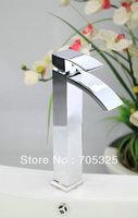 Newly High Waterfall Bathroom Basin Sink Chrome Brass Single Handle Mixer Tap Faucet JN-0175