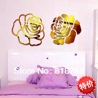 Min order 15 usd ( Mix items )  Hot Selling Rose Flower PVC Wall Stickers DIY Home Decoration Background Wall Decal Art
