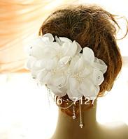 Free Shipping 2014 Wedding Bridal Hair Accessory Flower White Feather Rhinestone Tassel Hair Accessory  Min Order $15