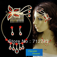 Free Shipping The Bride Wedding Jewelry Set Rhinestone Hairwear Necklace And Earring