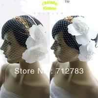 Free Shipping Bride Hair Accessory Fashion White Veil  flower accessories 173 Min Order $15