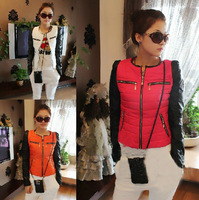 New arrival 2014 autumn winter down jacket women's fashion two color patchwork down coat outerwear pink orange whiteT013