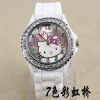 2013 New Fashion Diamond crystal hello kitty ladies Silicone Band Quartz Wrist Watch , 10colors wedding gift Free Shipping