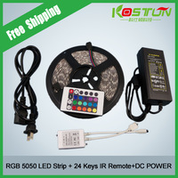 New! Actory Price RGB Led Strip Waterproof 5M SMD 5050 300 LEDs/Roll +24 keys IR Remote+12V 5A Power Adapter Free Shipping