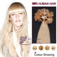 "Freeshipping 18""20""22"" Remy Italian keratin Hair Extension #613-lightest blonde  Nail tip /U-tip Human Hair 0.5/s 100s [Vkhair]"