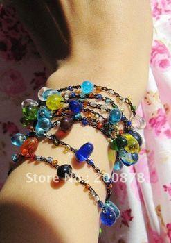 BB-196  Nepal colorful mini Glass beads Wrap Bracelets,Anklets,long drop beads necklace