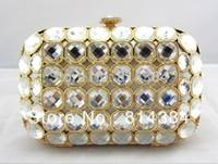 Free Shipping!Wholesale Luxury Swarovski Crystal Clutch Handbag Party Bag Gold Rhinstone Purse For Ladies S0882