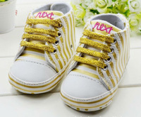 Free shipping Baby girls shoes Golden vertical bars  shoes soft sole baby Walkers Wear Comfortable prewalker size 11 12 13cm