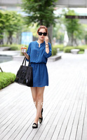 2013 TOP Fashion Summer Flase Two Clothes OL Casual Nano Wire Ladies Blue Dress Free Shipping 1720304