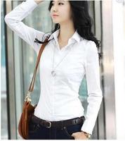 women Korea office lady Slim long-sleeved blouses white OL cotton shirts free shipping