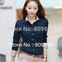 Free shipping!Hot sale! women Korean Slim long-sleeved blouse waist minimalist commuter OL shirt S-XXL
