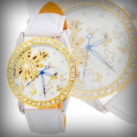 HK Post Or SG Post 2014  New Crystal Gold Case Lady Automatic Watch Women White Wristwatch