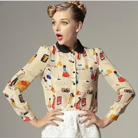 2013 woman new fashion spring summer Europe style silk blouse lady Garment   upper wholesale free shipping