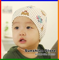 Sunshine store #2C2649 10 pcs/lot (4 colors) baby hat print bear polka dots spring toddler children hats and caps CPAM
