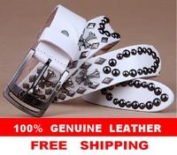 100% Genuine Leather NEW 2014 Man Vintage Punk Belt  Retro Cross Metal Rivet Male Strap Cinto Ceinture White Black 125CM TBT0039