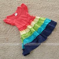 5pcs/lot, 2-6 Years 2015 summer girl dress girls rainbow dress kids red dress for girl children clothing PANYA ZZ14