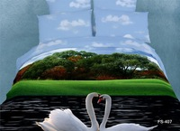 Free Shipping  3D Oil  Painted  cotton  bedding set (bed sheet/1 pillowcase/2 quilt cover/1)