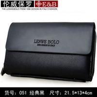 Hot sale!! LENWE BOLO New Fashion Genuine Leather Business Men Clutch Bag Wallet Men Handbag free shipping