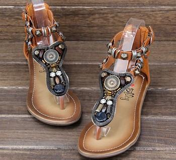 2013 summer women sandals,Australia brand bohemia sandals genuine leather liner gem women's beaded flat shoes sandals --SYRM0011