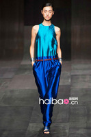 Free Shipping Spring And Summer Lady Pure Blue Silk Jumpsuit Dresses With Belt