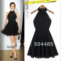 [C-254] 2013 Europe Womens Fashion Elegant Halter Black Casual Dress Free Shopping