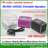MUSIC ANGEL portable speaker JH-MD05X  HOT Stereo speaker,support TF Card/USB flash disk, FM radio+LCD screen+outside battery