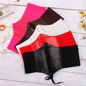 Women Fashion Shoelaces Designer PU Leather Elastic Cummerbund Female Corset Ladies Leather Belt Waistband 1079(China (Mainland))