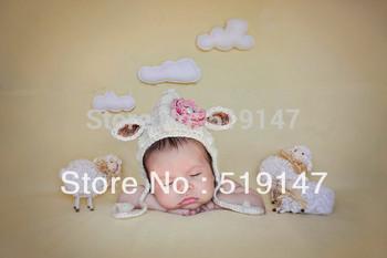 Free shipping Cute sheep style baby hat handmade crochet photography props newborn hat