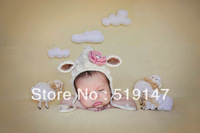 Free shipping Cute sheep style baby hat handmade crochet photography props newborn hat