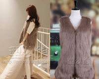 Autumn & Winter Women's Faux fox fur Vest Long Style V-collar False Fur Vest Free Shipping