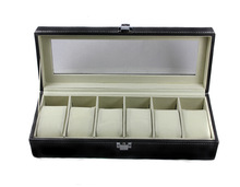 New PU Leather 6 Grid Watch Display Case Box 10 Cells Jewelry Storage Organizer Container Holder