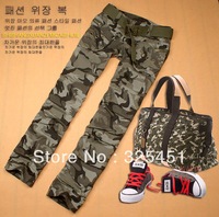 Free shipping women's camouflage cargo pants camo casual long trousers