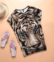 Hot !Tiger printed Tshirt Long Tops Womens Summer Tees Blue Eyes Popular T shirt Hot Sale Fashion Milk silk Animal pattern NV07