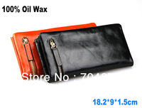 100% Oil Wax Retro Vintage Genuine Leather Clutch Wallets Purse Card Holder Wallet Head Layer Cowhide