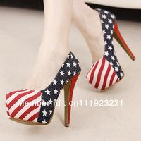 2013 free shipping USA flag lady shoe