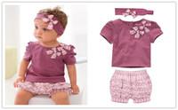 Baby Suits Purple Baby Girl Clothing Set bowknot headband+Short T shirt +floral printed shorts Hot selling design Free shipping