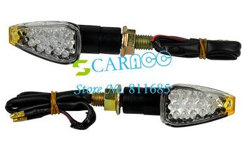 Free Shipping 4 x Motorcycle 14-LED Turn Signal Indicators Lights Amber yellow TK_CB153