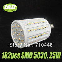 Free shipping brand 5630 smd led corn light  25W with 102pcs LEDs E27 base white color for commercial light energy saving