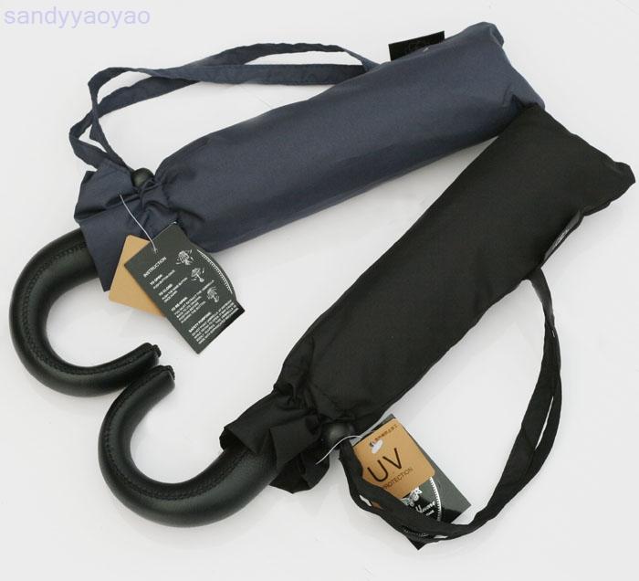 Y27 Brand Lotosblume Leather Handle Automatic Umbrella 10 Rib Quantity Strong Black Umbrellas Rain Wind Resistant For Men(China (Mainland))