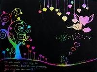 FREE SHIPPING Scratch Art Paper Drawing Children Favorite DIY Send Bamboo Pen Promotion Fashion Gift 1000pcs/lot Say Hi DIY 16Kc