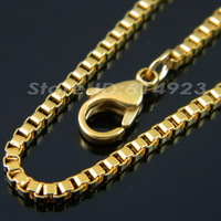 40cm 45cm 50cm 55cm 60cm 18K Gold Plated 316L Stainless Steel Box Chain Necklaces For Men & Women FashionJewelry TL068