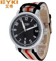 100% EYKI brand watches Canvas band  Men Sport Watch Fashion Calendar  8455 Free shipping