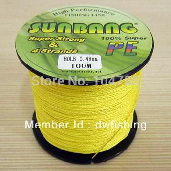 Free Shipping 100m/6pcs  PE Braid Fishing Line 4 strands 10/15/20/30/40/50/60/70/80/90/100 LB