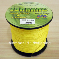 Free Shipping 100m/6pcs  PE Braid Fishing Line 4 strands 10/15/20/30/40/50/60/70/80/90/100 LB