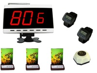 Waiter buzzer call system,1 pc kitchen button,3 pcs menu button with service,1 pc of display. 2 pcs of watch receiver.