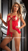 New Arrival Free Shipping CL2130 Sexy Red Lingerie Short Sexy Sleep Wear