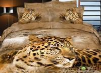 Animal print home textile 100%cotton 3D leopard bedding set queen size bed sheet set bedclothes duvet cover set