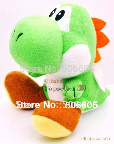 "free shipping retail 1pcs/lot High Quality Soft Plush New Super Mario Bros sitting Yoshi 7"" Doll Soft Toy(China (Mainland))"