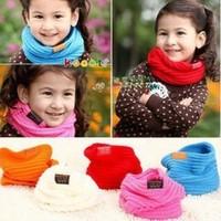 Children's Muffler Autumn Summer and Winter Warm Scarf Children Baby Boy Girls Knitted O-Scarf ,kids candy warm neck bib scarf